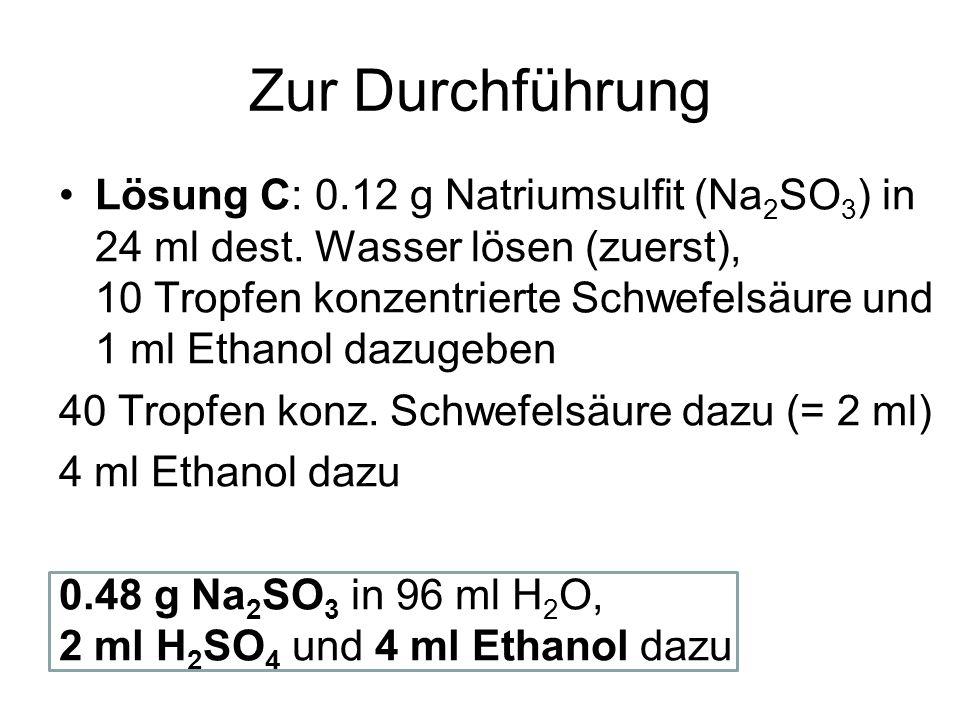 Zur Durchführung Lösung C: 0.12 g Natriumsulfit (Na 2 SO 3 ) in 24 ml dest. Wasser lösen (zuerst), 10 Tropfen konzentrierte Schwefelsäure und 1 ml Eth