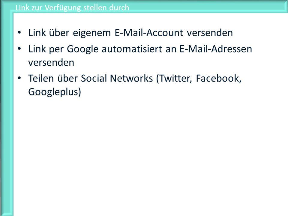 Link zur Verfügung stellen durch Link über eigenem E-Mail-Account versenden Link per Google automatisiert an E-Mail-Adressen versenden Teilen über Soc