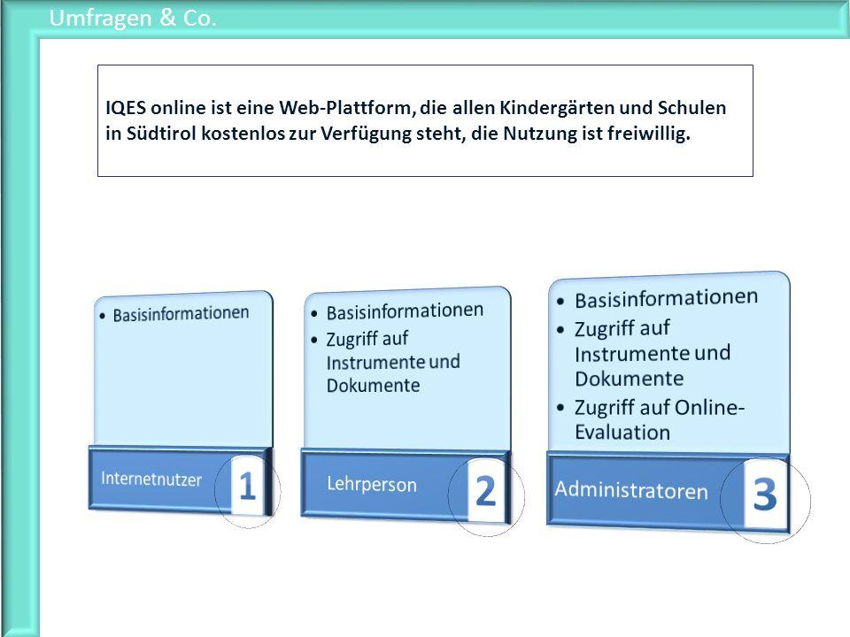 Umfragen & Co. IQES online ist eine Web-Plattform, die allen Kindergärten und Schulen in Südtirol kostenlos zur Verfügung steht, die Nutzung ist freiw