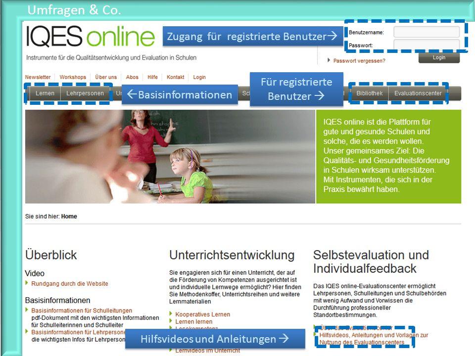 Umfragen & Co. Basisinformationen Für registrierte Benutzer Zugang für registrierte Benutzer Hilfsvideos und Anleitungen