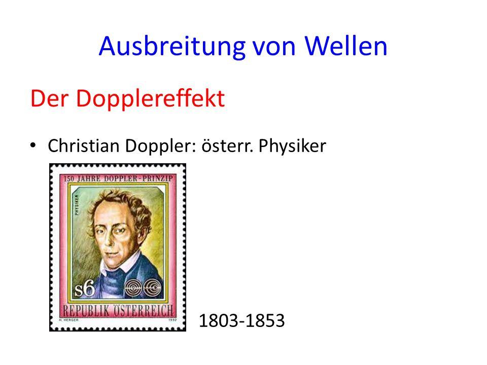 Ausbreitung von Wellen Christian Doppler: österr. Physiker 1803-1853 Der Dopplereffekt