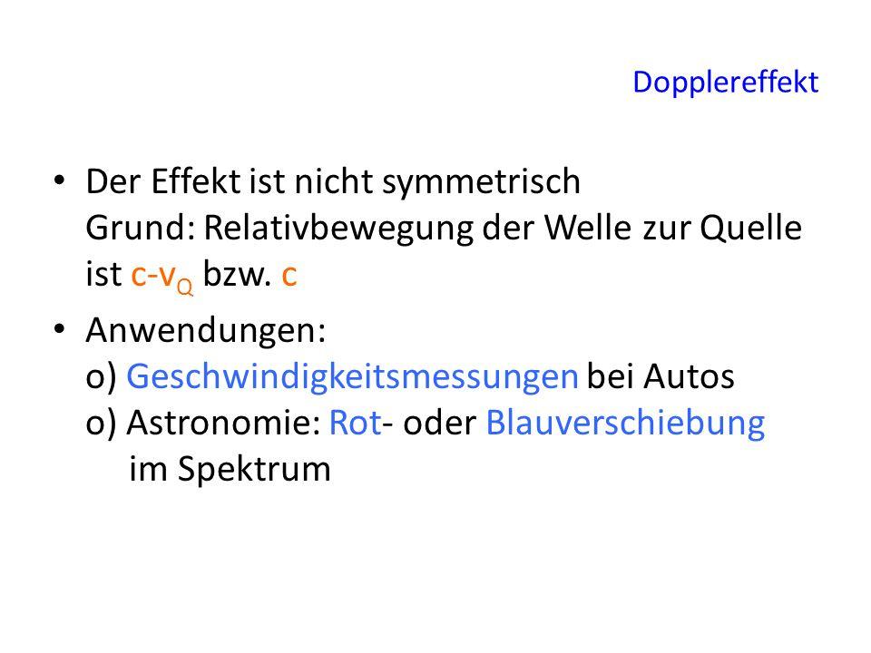 Dopplereffekt Der Effekt ist nicht symmetrisch Grund: Relativbewegung der Welle zur Quelle ist c-v Q bzw. c Anwendungen: o) Geschwindigkeitsmessungen