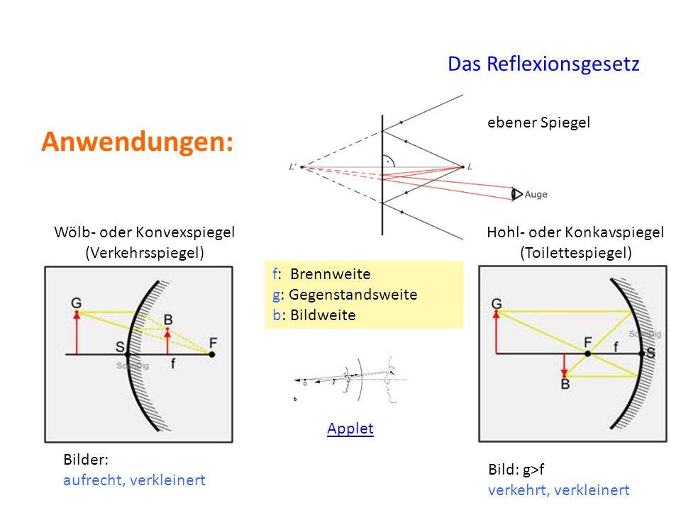 Das Reflexionsgesetz Anwendungen: ebener Spiegel Wölb- oder Konvexspiegel (Verkehrsspiegel) Hohl- oder Konkavspiegel (Toilettespiegel) Bilder: aufrech