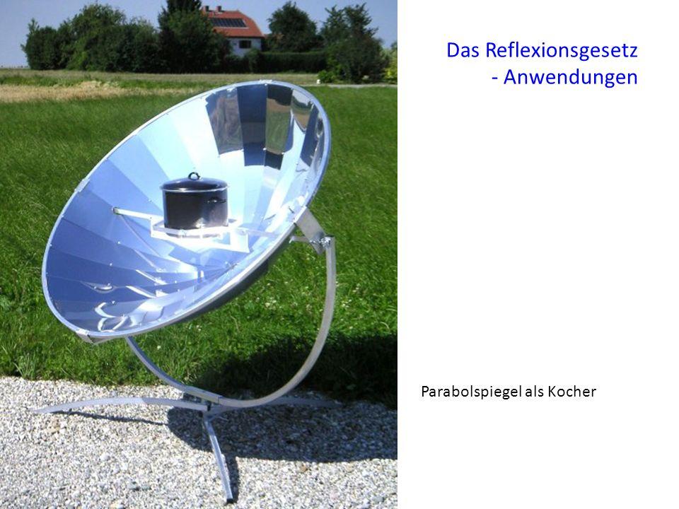 Das Reflexionsgesetz - Anwendungen Parabolspiegel als Kocher