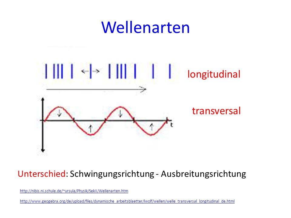 Wellenarten longitudinal transversal Unterschied: Schwingungsrichtung - Ausbreitungsrichtung http://nibis.ni.schule.de/~ursula/Physik/SekII/Wellenarte