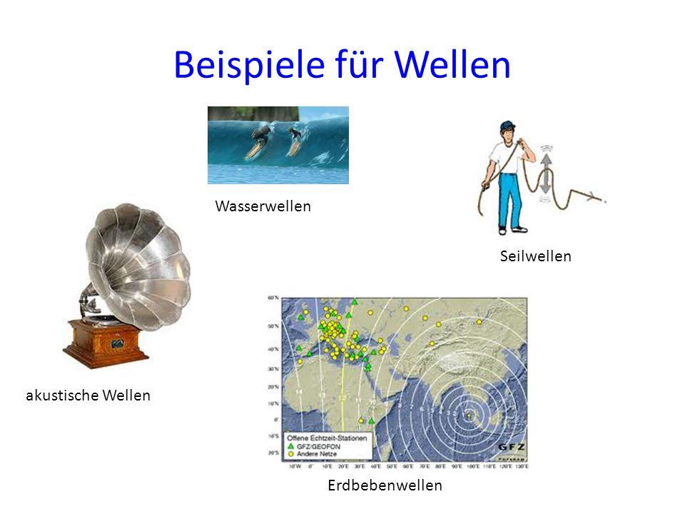Beispiele für Wellen Wasserwellen Seilwellen akustische Wellen Erdbebenwellen