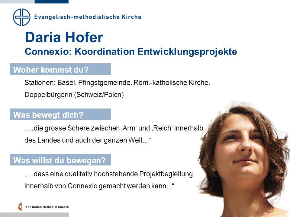 Daria Hofer Connexio: Koordination Entwicklungsprojekte Stationen: Basel. Pfingstgemeinde. Röm.-katholische Kirche. Doppelbürgerin (Schweiz/Polen) Woh