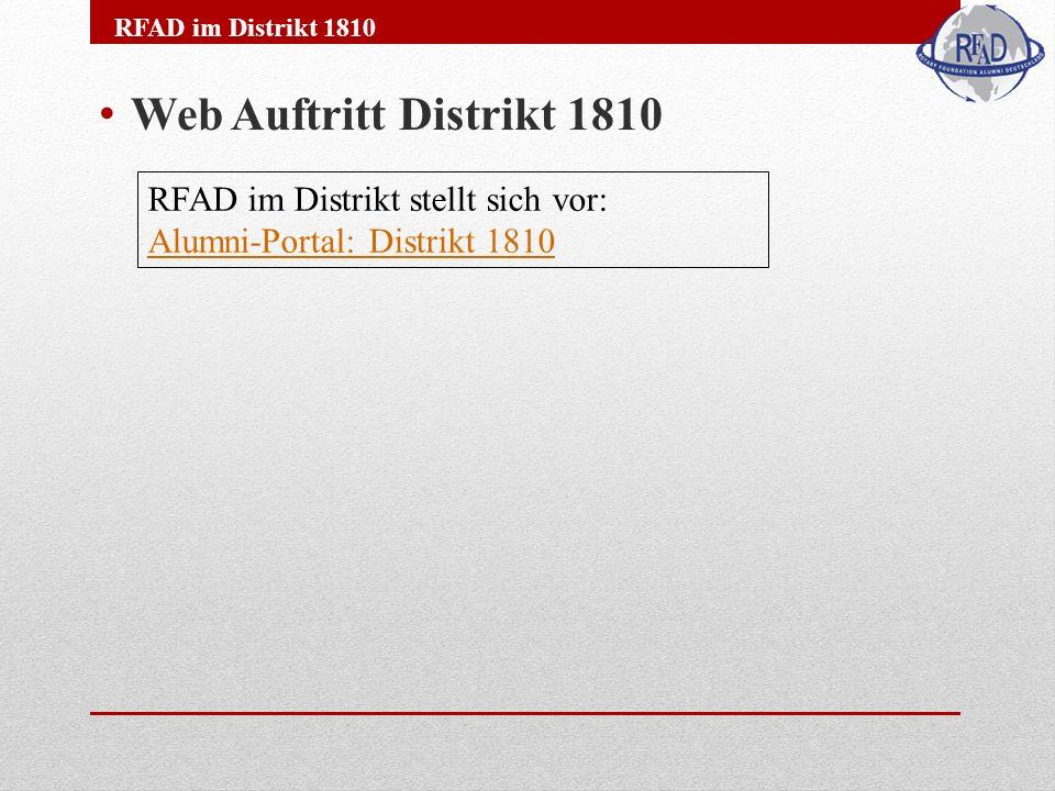 Web Auftritt Distrikt 1810 RFAD im Distrikt 1810 RFAD im Distrikt stellt sich vor: Alumni-Portal: Distrikt 1810