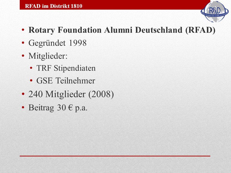 Rotary Foundation Alumni Deutschland (RFAD) Gegründet 1998 Mitglieder: TRF Stipendiaten GSE Teilnehmer 240 Mitglieder (2008) Beitrag 30 p.a.