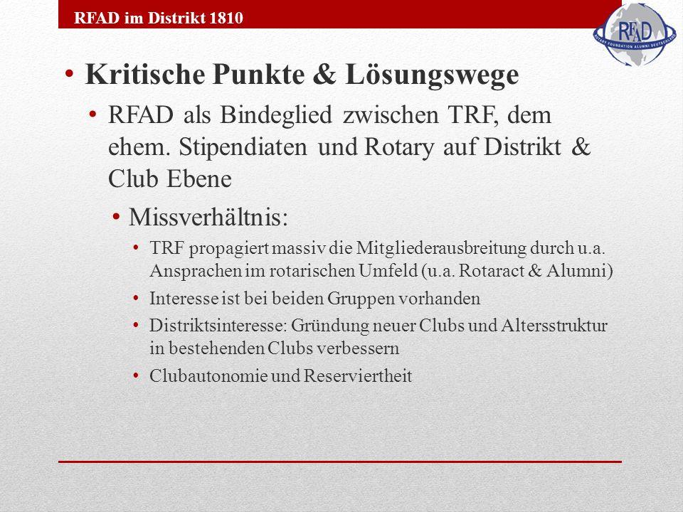 Kritische Punkte & Lösungswege RFAD als Bindeglied zwischen TRF, dem ehem.