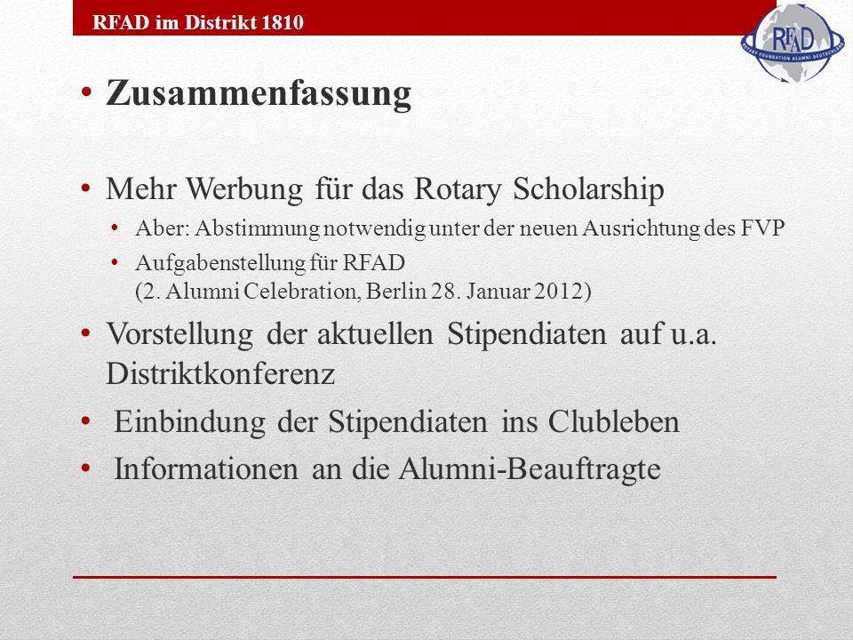 Zusammenfassung Mehr Werbung für das Rotary Scholarship Aber: Abstimmung notwendig unter der neuen Ausrichtung des FVP Aufgabenstellung für RFAD (2.