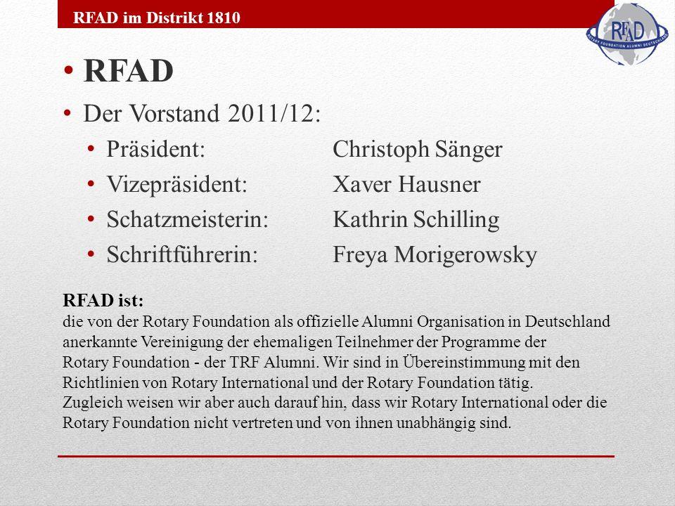RFAD Der Vorstand 2011/12: Präsident: Christoph Sänger Vizepräsident: Xaver Hausner Schatzmeisterin: Kathrin Schilling Schriftführerin: Freya Morigero