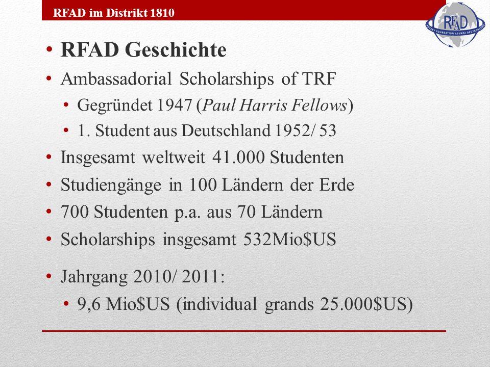 RFAD Geschichte Ambassadorial Scholarships of TRF Gegründet 1947 (Paul Harris Fellows) 1. Student aus Deutschland 1952/ 53 Insgesamt weltweit 41.000 S