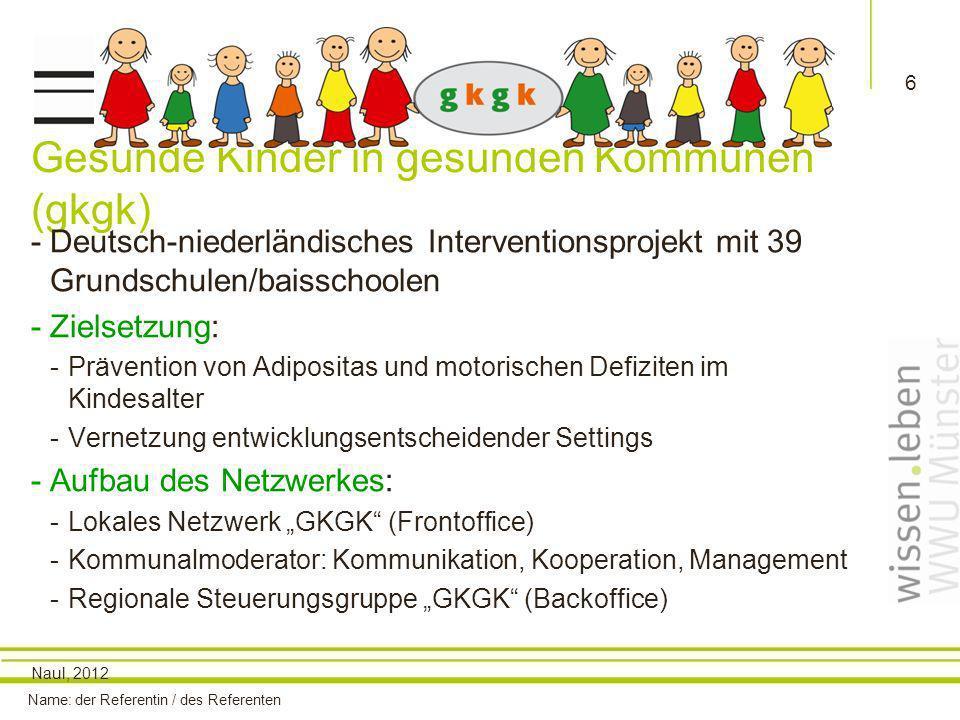Name: der Referentin / des Referenten 6 Gesunde Kinder in gesunden Kommunen (gkgk) -Deutsch-niederländisches Interventionsprojekt mit 39 Grundschulen/baisschoolen -Zielsetzung: -Prävention von Adipositas und motorischen Defiziten im Kindesalter -Vernetzung entwicklungsentscheidender Settings -Aufbau des Netzwerkes: -Lokales Netzwerk GKGK (Frontoffice) -Kommunalmoderator: Kommunikation, Kooperation, Management -Regionale Steuerungsgruppe GKGK (Backoffice) Naul, 2012