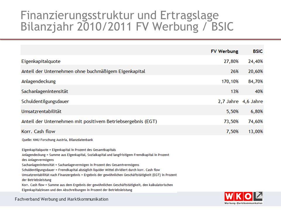 Fachverband Werbung und Marktkommunikation Finanzierungsstruktur und Ertragslage Bilanzjahr 2010/2011 FV Werbung / BSIC