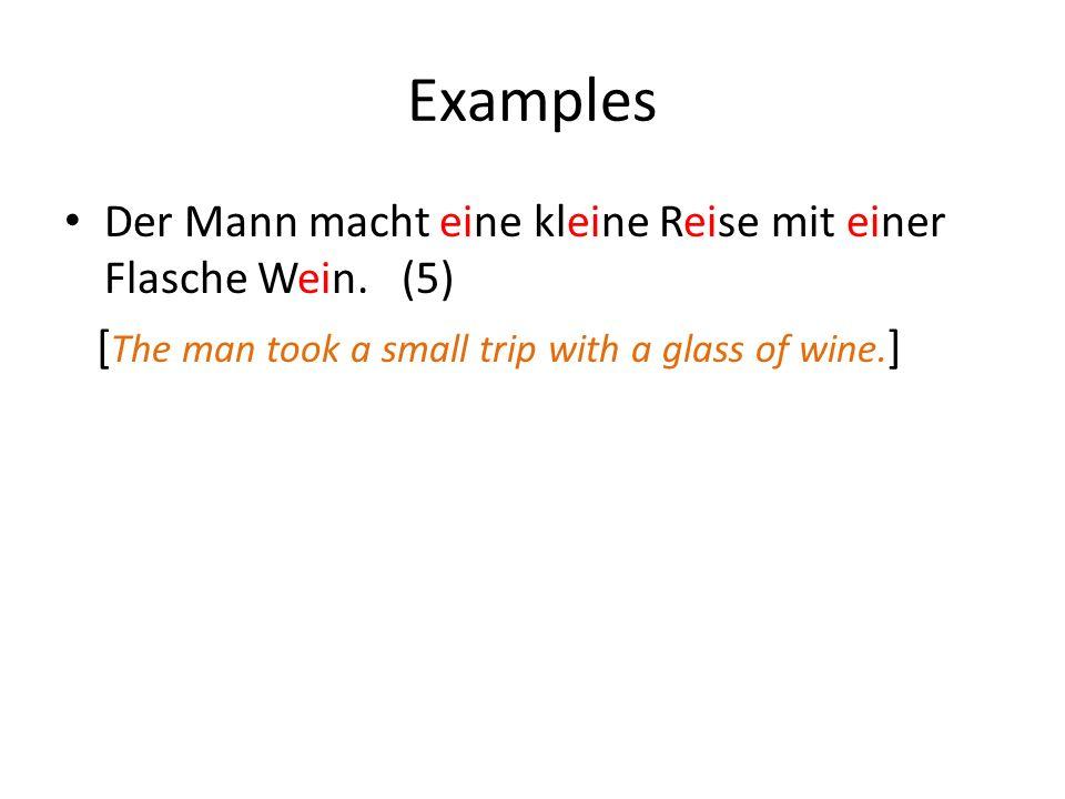 Examples Der Mann macht eine kleine Reise mit einer Flasche Wein. (5) [ The man took a small trip with a glass of wine. ]