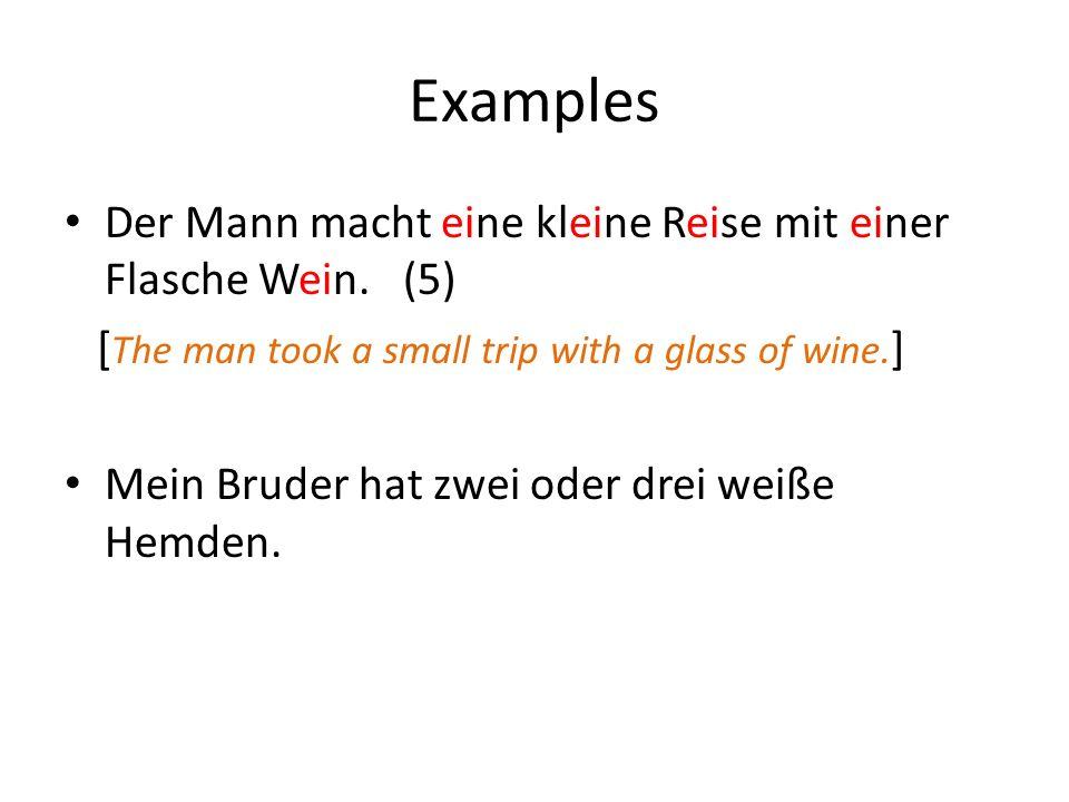 Examples Der Mann macht eine kleine Reise mit einer Flasche Wein.