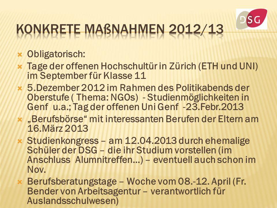 Obligatorisch: Tage der offenen Hochschultür in Zürich (ETH und UNI) im September für Klasse 11 5.Dezember 2012 im Rahmen des Politikabends der Oberst