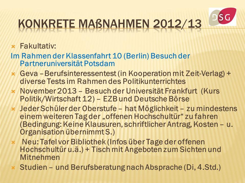 Fakultativ: Im Rahmen der Klassenfahrt 10 (Berlin) Besuch der Partneruniversität Potsdam Geva –Berufsinteressentest (in Kooperation mit Zeit-Verlag) +