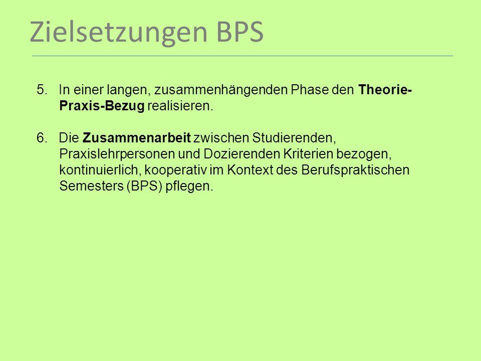 Zielsetzungen BPS. 5. In einer langen, zusammenhängenden Phase den Theorie- Praxis-Bezug realisieren. 6. Die Zusammenarbeit zwischen Studierenden, Pra