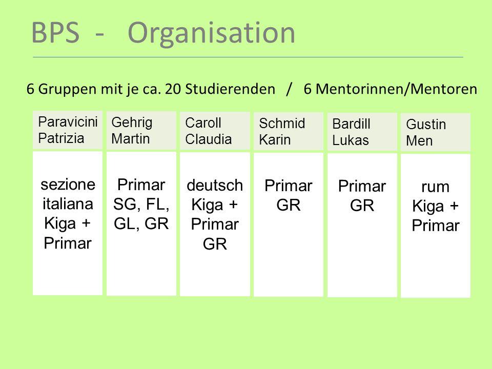 BPS - Organisation 6 Gruppen mit je ca. 20 Studierenden / 6 Mentorinnen/Mentoren Paravicini Patrizia sezione italiana Kiga + Primar Gehrig Martin Prim