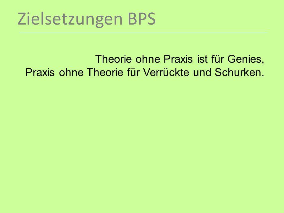 Zielsetzungen BPS Theorie ohne Praxis ist für Genies, Praxis ohne Theorie für Verrückte und Schurken.
