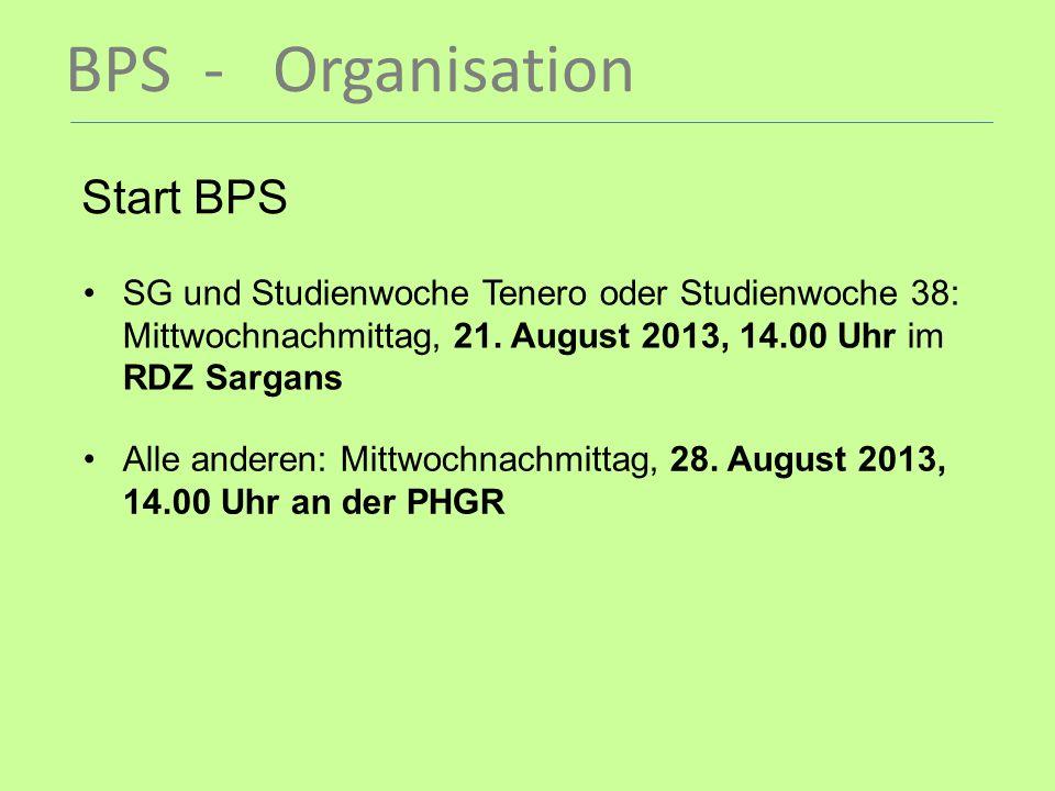 BPS - Organisation Start BPS SG und Studienwoche Tenero oder Studienwoche 38: Mittwochnachmittag, 21. August 2013, 14.00 Uhr im RDZ Sargans Alle ander