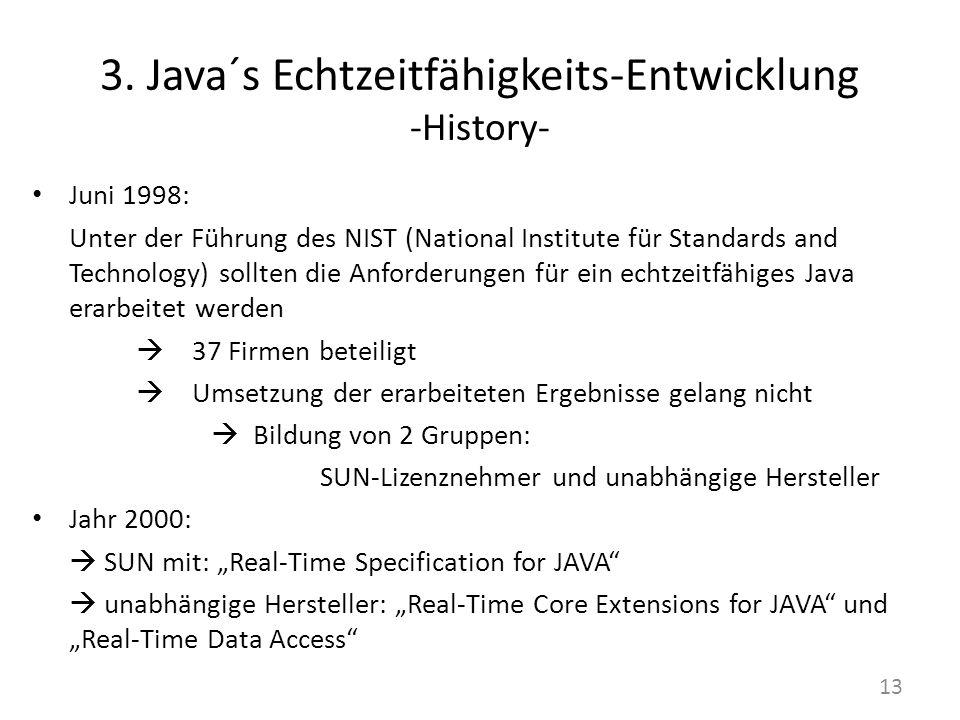 3. Java´s Echtzeitfähigkeits-Entwicklung -History- Juni 1998: Unter der Führung des NIST (National Institute für Standards and Technology) sollten die