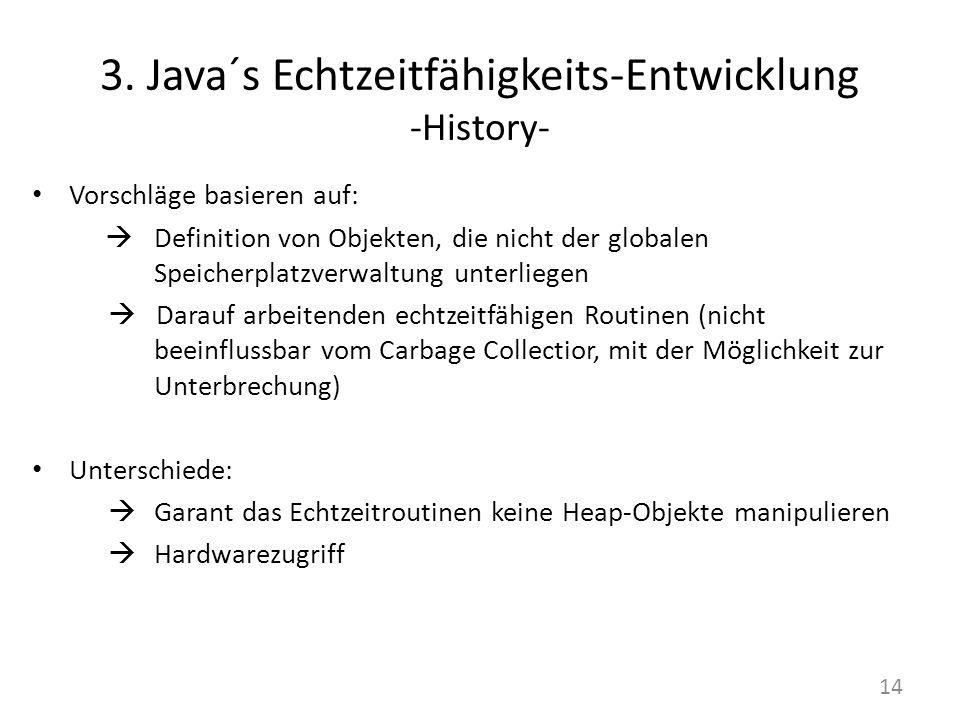3. Java´s Echtzeitfähigkeits-Entwicklung -History- Vorschläge basieren auf: Definition von Objekten, die nicht der globalen Speicherplatzverwaltung un