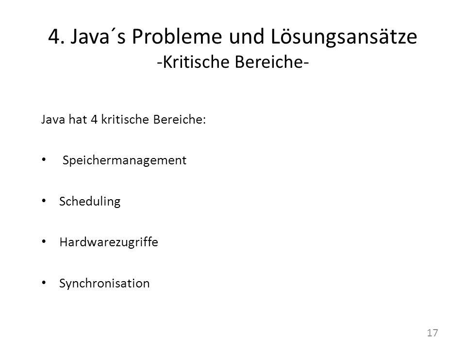 4. Java´s Probleme und Lösungsansätze -Kritische Bereiche- Java hat 4 kritische Bereiche: Speichermanagement Scheduling Hardwarezugriffe Synchronisati