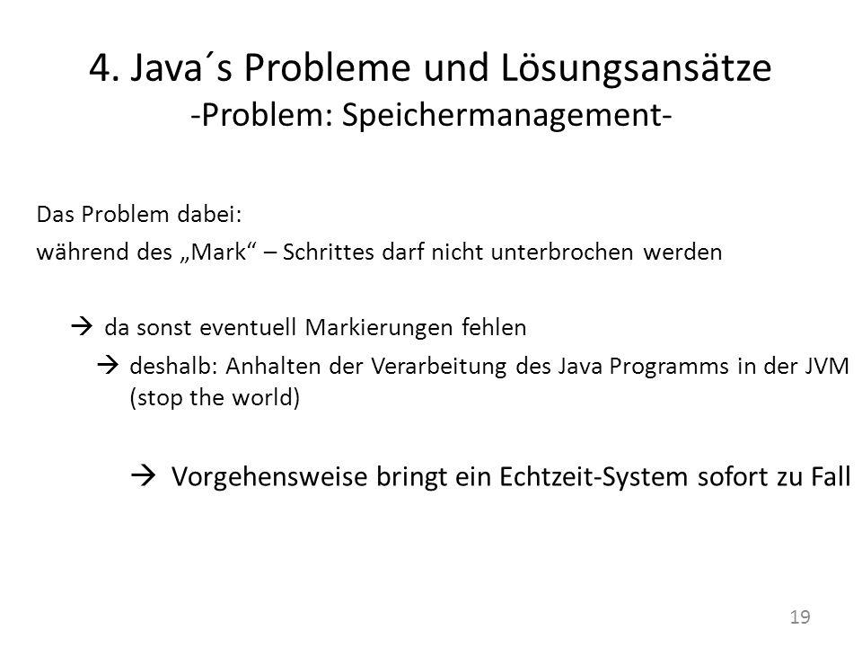 4. Java´s Probleme und Lösungsansätze -Problem: Speichermanagement- Das Problem dabei: während des Mark – Schrittes darf nicht unterbrochen werden da