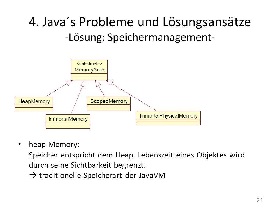 4. Java´s Probleme und Lösungsansätze -Lösung: Speichermanagement- heap Memory: Speicher entspricht dem Heap. Lebenszeit eines Objektes wird durch sei