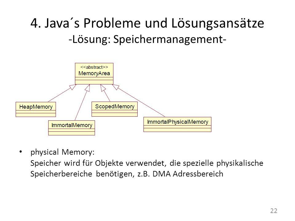 4. Java´s Probleme und Lösungsansätze -Lösung: Speichermanagement- physical Memory: Speicher wird für Objekte verwendet, die spezielle physikalische S