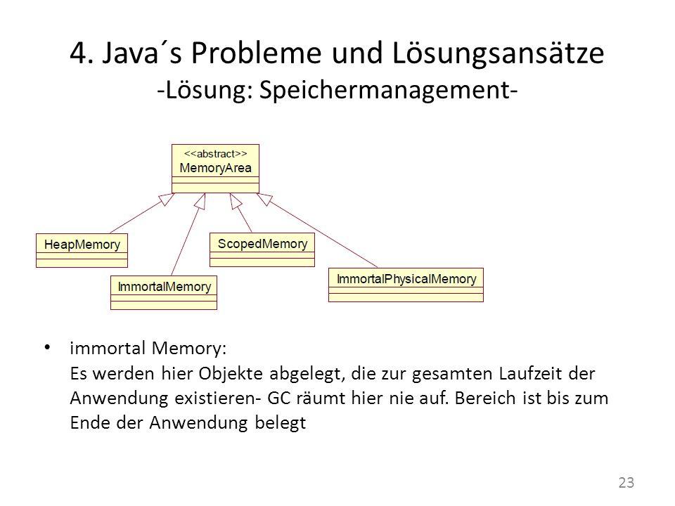 4. Java´s Probleme und Lösungsansätze -Lösung: Speichermanagement- immortal Memory: Es werden hier Objekte abgelegt, die zur gesamten Laufzeit der Anw