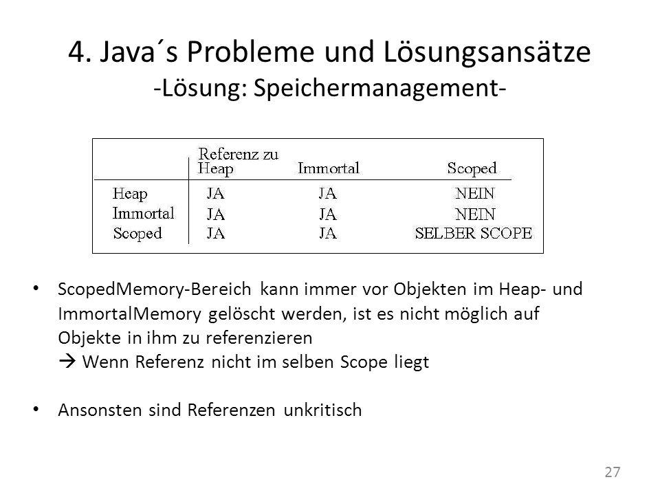 4. Java´s Probleme und Lösungsansätze -Lösung: Speichermanagement- ScopedMemory-Bereich kann immer vor Objekten im Heap- und ImmortalMemory gelöscht w