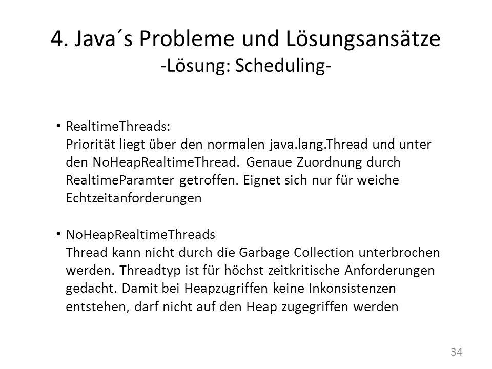 4. Java´s Probleme und Lösungsansätze -Lösung: Scheduling- RealtimeThreads: Priorität liegt über den normalen java.lang.Thread und unter den NoHeapRea