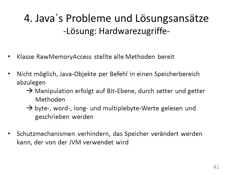 4. Java´s Probleme und Lösungsansätze -Lösung: Hardwarezugriffe- Klasse RawMemoryAccess stellte alle Methoden bereit Nicht möglich, Java-Objekte per B
