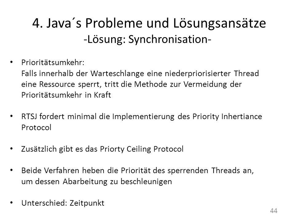 4. Java´s Probleme und Lösungsansätze -Lösung: Synchronisation- Prioritätsumkehr: Falls innerhalb der Warteschlange eine niederpriorisierter Thread ei
