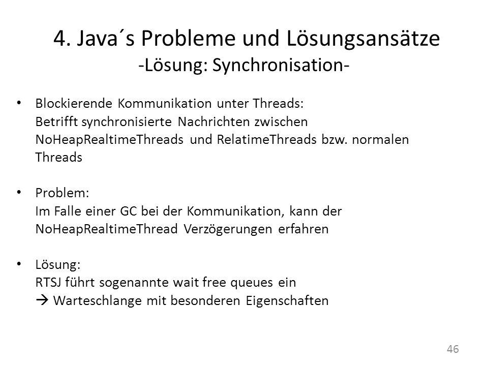 4. Java´s Probleme und Lösungsansätze -Lösung: Synchronisation- Blockierende Kommunikation unter Threads: Betrifft synchronisierte Nachrichten zwische