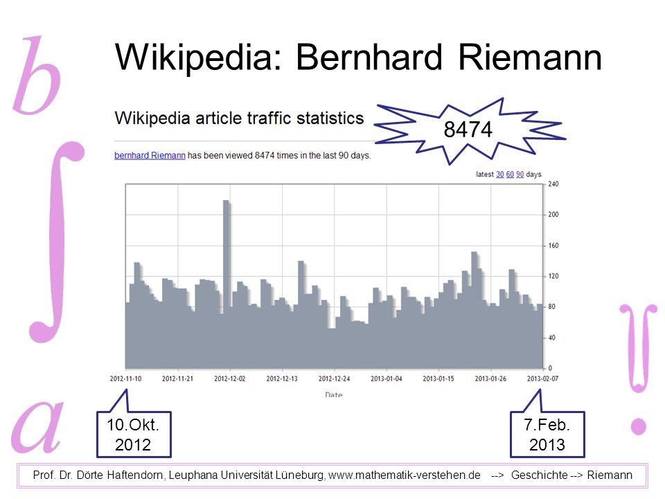 Wikipedia: Bernhard Riemann Prof. Dr. Dörte Haftendorn, Leuphana Universität Lüneburg, www.mathematik-verstehen.de --> Geschichte --> Riemann 10.Okt.