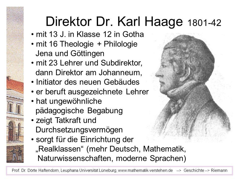 Direktor Dr. Karl Haage 1801-42 Prof. Dr. Dörte Haftendorn, Leuphana Universität Lüneburg, www.mathematik-verstehen.de --> Geschichte --> Riemann mit