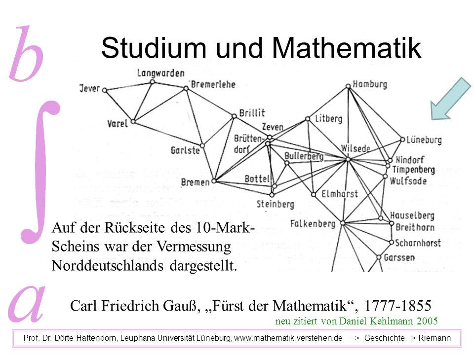 Studium und Mathematik Prof. Dr. Dörte Haftendorn, Leuphana Universität Lüneburg, www.mathematik-verstehen.de --> Geschichte --> Riemann Carl Friedric