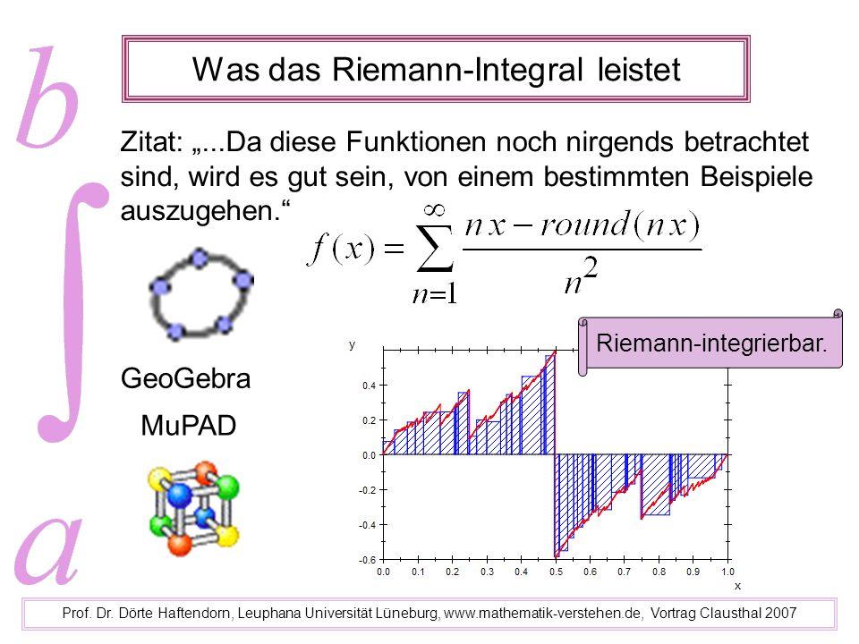 Was das Riemann-Integral leistet Prof. Dr. Dörte Haftendorn, Leuphana Universität Lüneburg, www.mathematik-verstehen.de, Vortrag Clausthal 2007 GeoGeb
