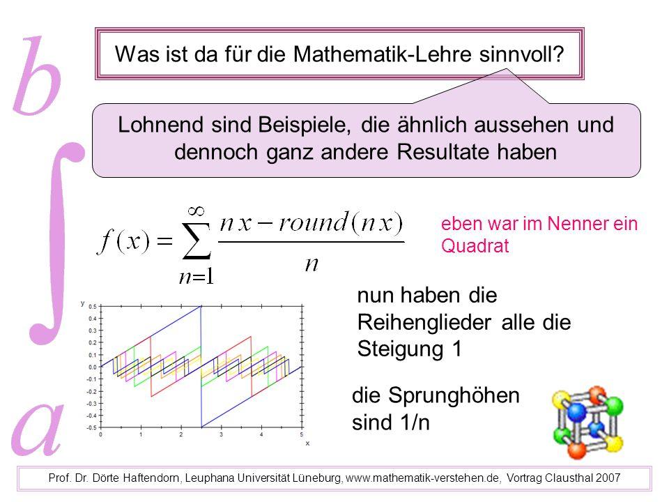 Was ist da für die Mathematik-Lehre sinnvoll? Prof. Dr. Dörte Haftendorn, Leuphana Universität Lüneburg, www.mathematik-verstehen.de, Vortrag Claustha