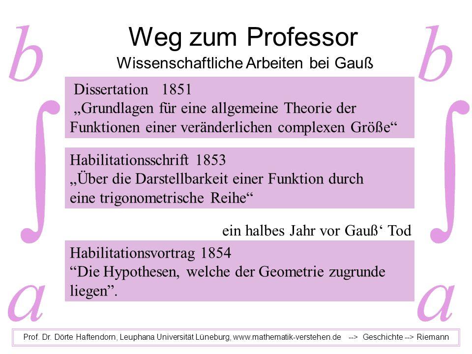 Weg zum Professor Prof. Dr. Dörte Haftendorn, Leuphana Universität Lüneburg, www.mathematik-verstehen.de --> Geschichte --> Riemann Wissenschaftliche