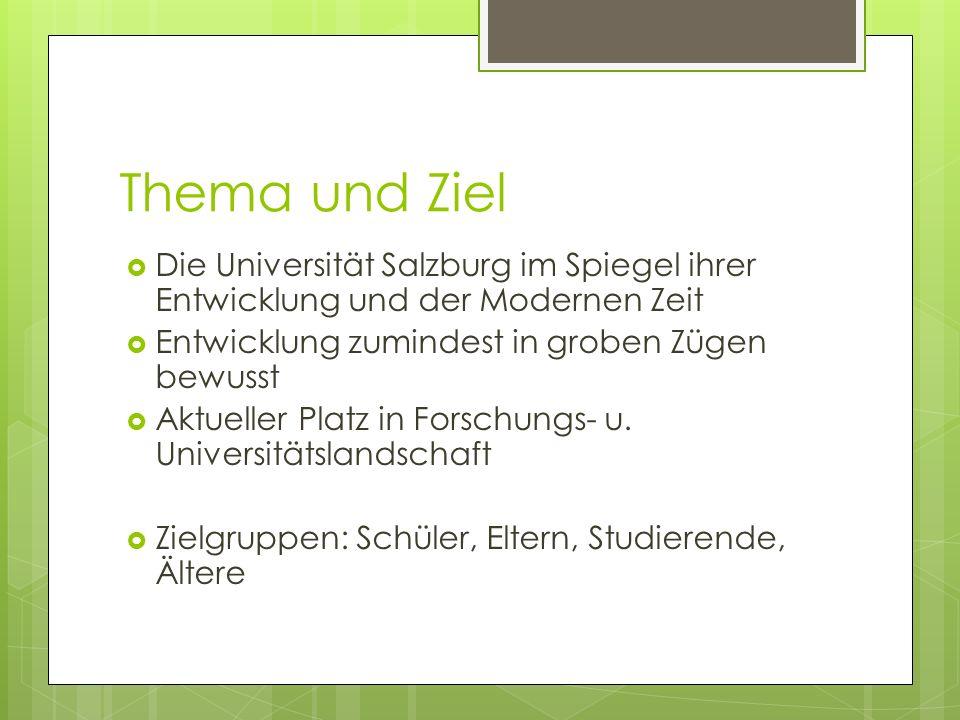 Thema und Ziel Die Universität Salzburg im Spiegel ihrer Entwicklung und der Modernen Zeit Entwicklung zumindest in groben Zügen bewusst Aktueller Pla
