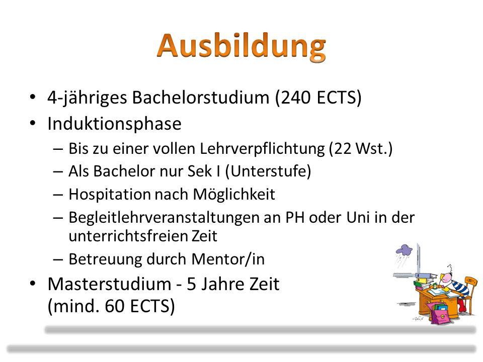 4-jähriges Bachelorstudium (240 ECTS) Induktionsphase – Bis zu einer vollen Lehrverpflichtung (22 Wst.) – Als Bachelor nur Sek I (Unterstufe) – Hospit