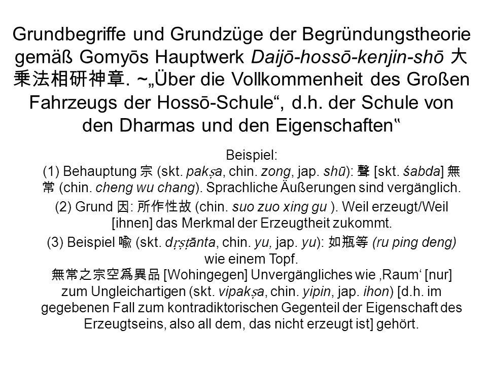 Grundbegriffe und Grundzüge der Begründungstheorie gemäß Gomyōs Hauptwerk Daijō-hossō-kenjin-shō.