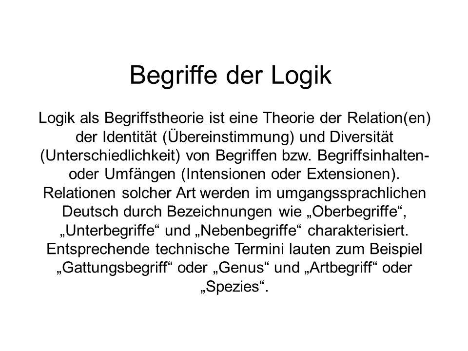 Begriffe der Logik Logik als Begriffstheorie ist eine Theorie der Relation(en) der Identität (Übereinstimmung) und Diversität (Unterschiedlichkeit) von Begriffen bzw.