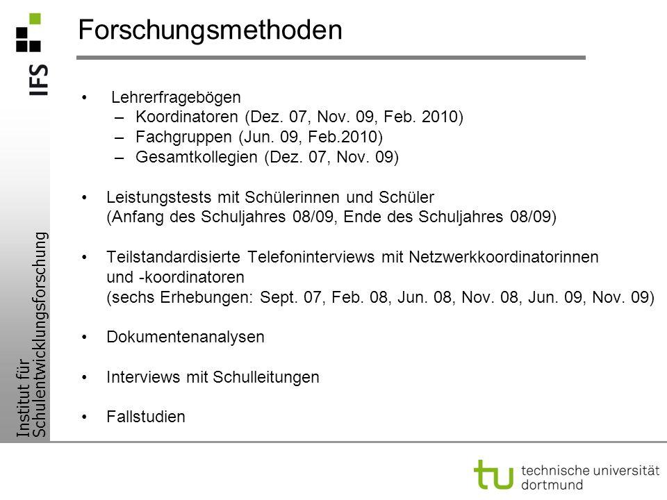 Institut für Schulentwicklungsforschung Forschungsmethoden Lehrerfragebögen –Koordinatoren (Dez. 07, Nov. 09, Feb. 2010) –Fachgruppen (Jun. 09, Feb.20